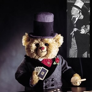 W.C. Fields' Collectible Cooperstown Teddy Bear sitting at poker table holding cards.