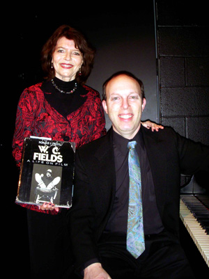 Ben Model and Dr. Harriet Fields backstage at the Alden Theatre.