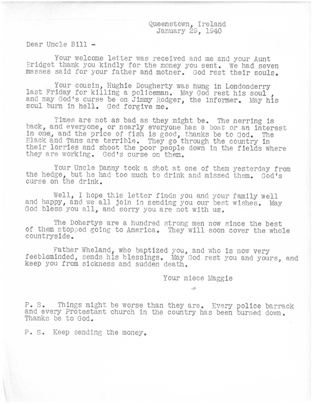 W.C. Fields' letter from niece Maggie.