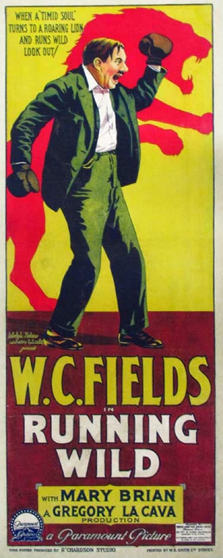 Running Wild movie poster with W.C. Fields wearing boxing gloves and a silhouette of a lion in the background.