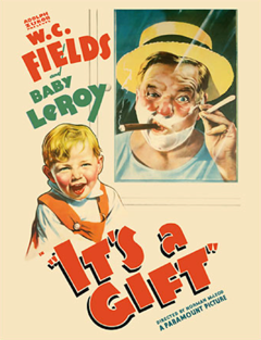 Movie poster showing W.C. Fields with shaving cream and Baby LeRoy.